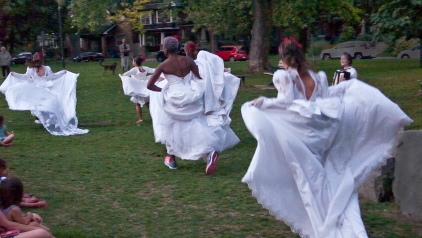 Running brides of the bride brigade.