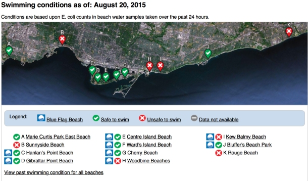 Swimming conditions map Aug 20