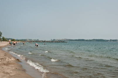 Beach view east at Ward's island.