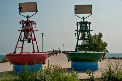 Centre island buoys and pier.