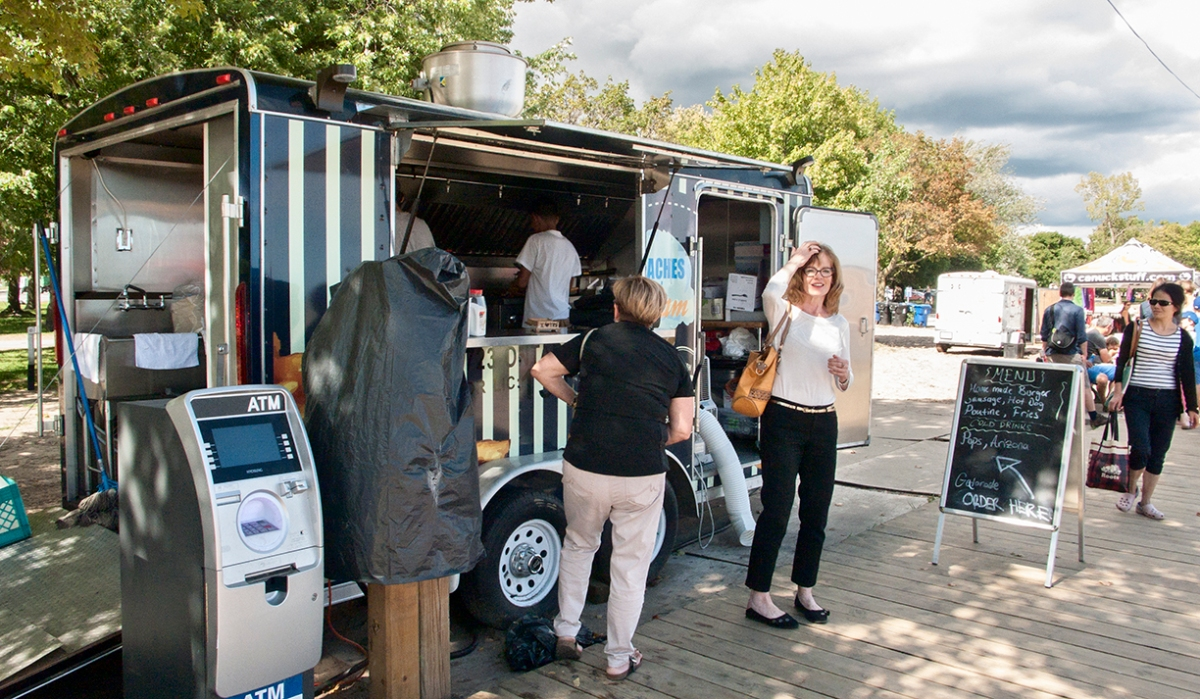Food truck with ATM.