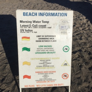 Beach info sign.