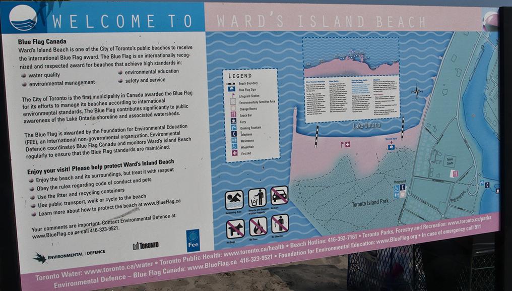 Sign at Ward's island beach.