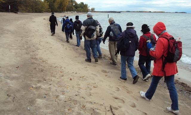 Walkers on beach.