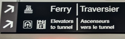 Ferry/elevator sign.