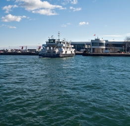 Ferry arriving at airport.