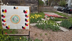Heart garden with sign.
