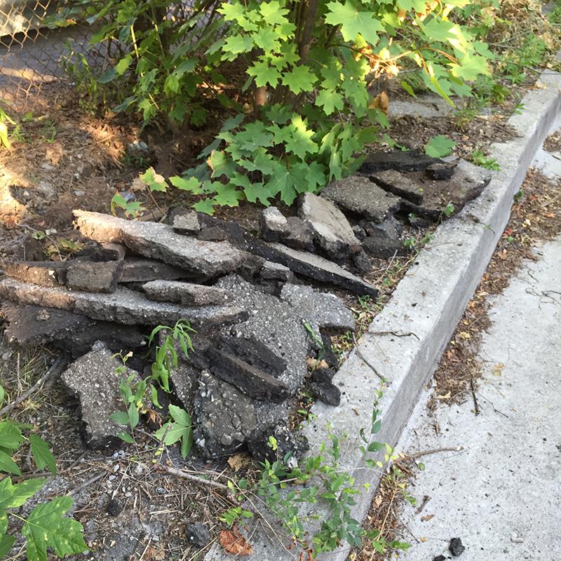 Piled asphalt.