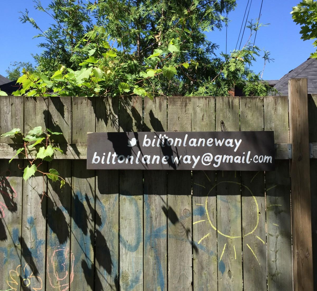 Bilton laneway sign on fence.