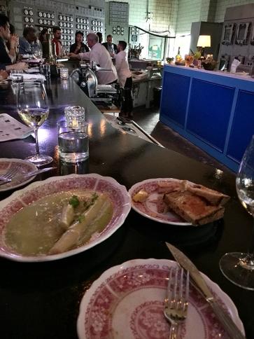 Asparagas and fois gras.