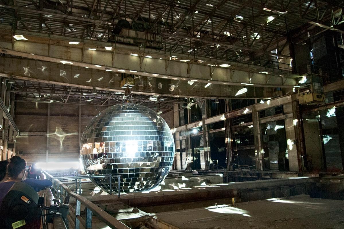 Mirror ball inside the Hearn.