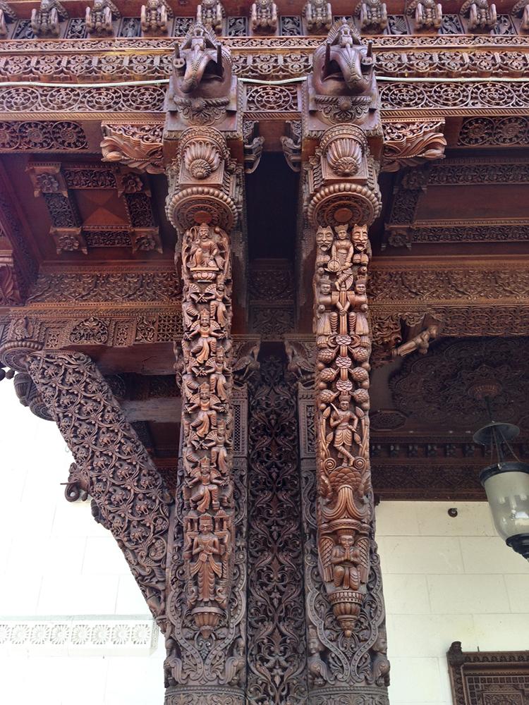 Carved wood pillars.