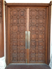 Carved wooden doors.