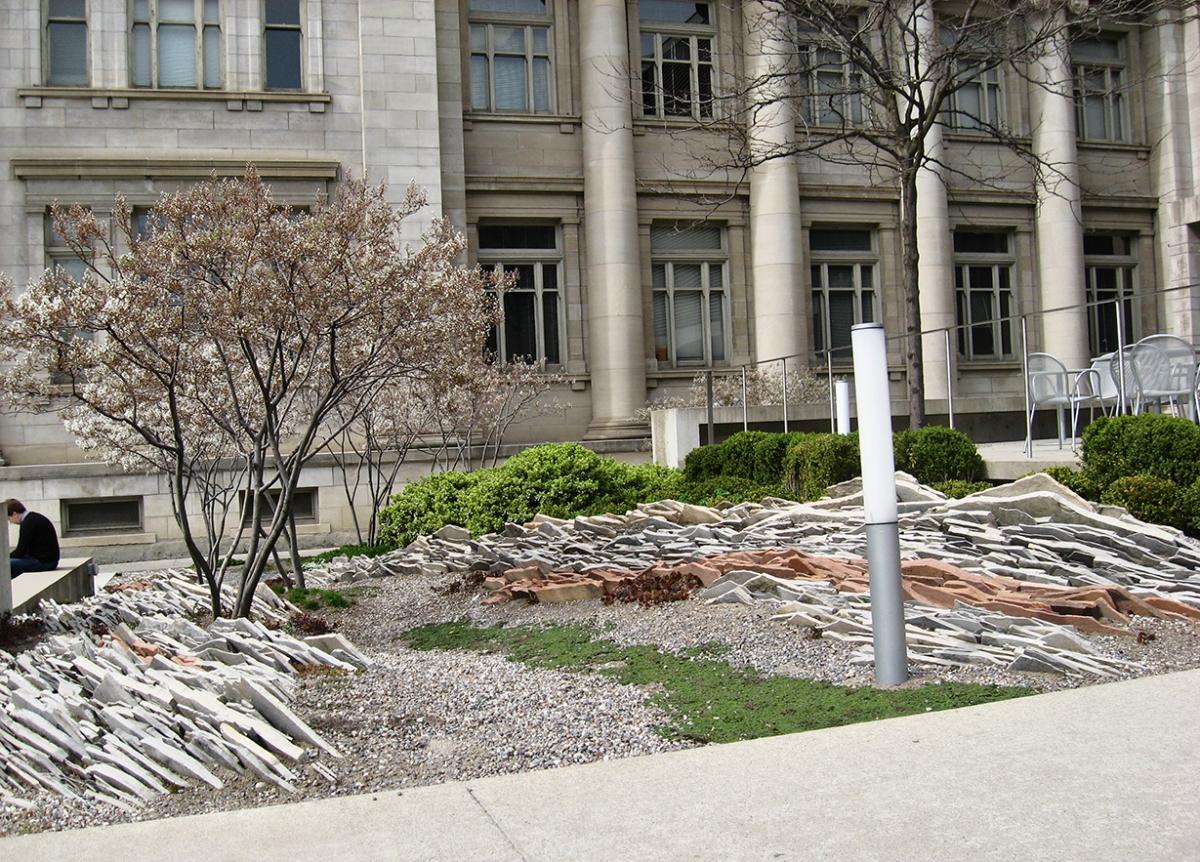 Gardiner Museum rock garden sans plants.