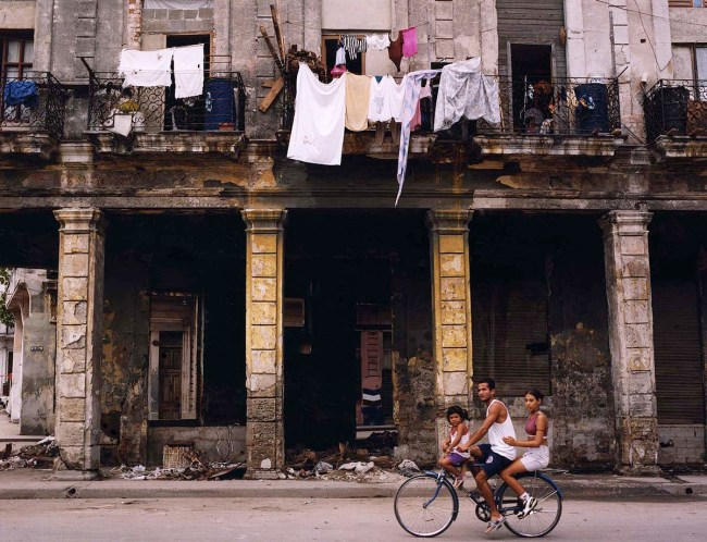 Havana family on bicycle.