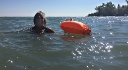Swimming in Lake Ontario.
