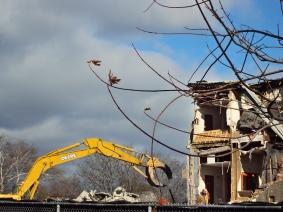 Briar Hill school and bulldozer.