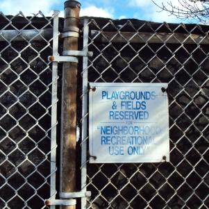 Playground sign.