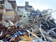 School destruction debris.