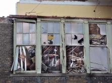 Windows full of construction debris.