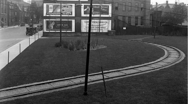 Mutual St streetcar loop, 1929.