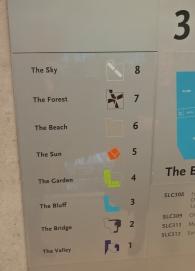 Elevator floor guide.