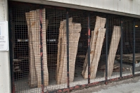 Stored lumber drying.