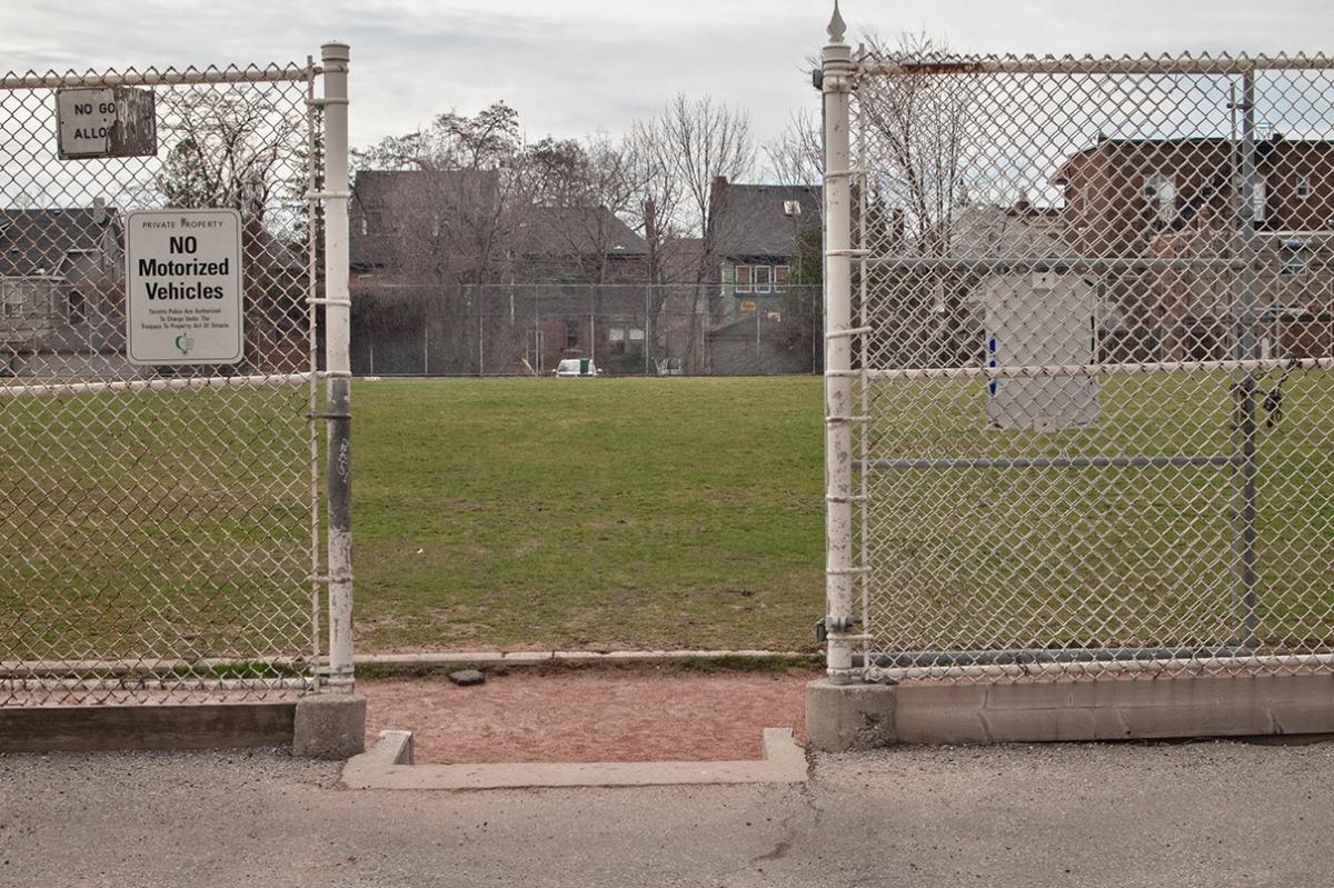 Open gate to field.
