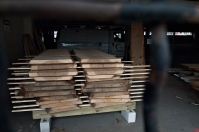 Stacked lumber.