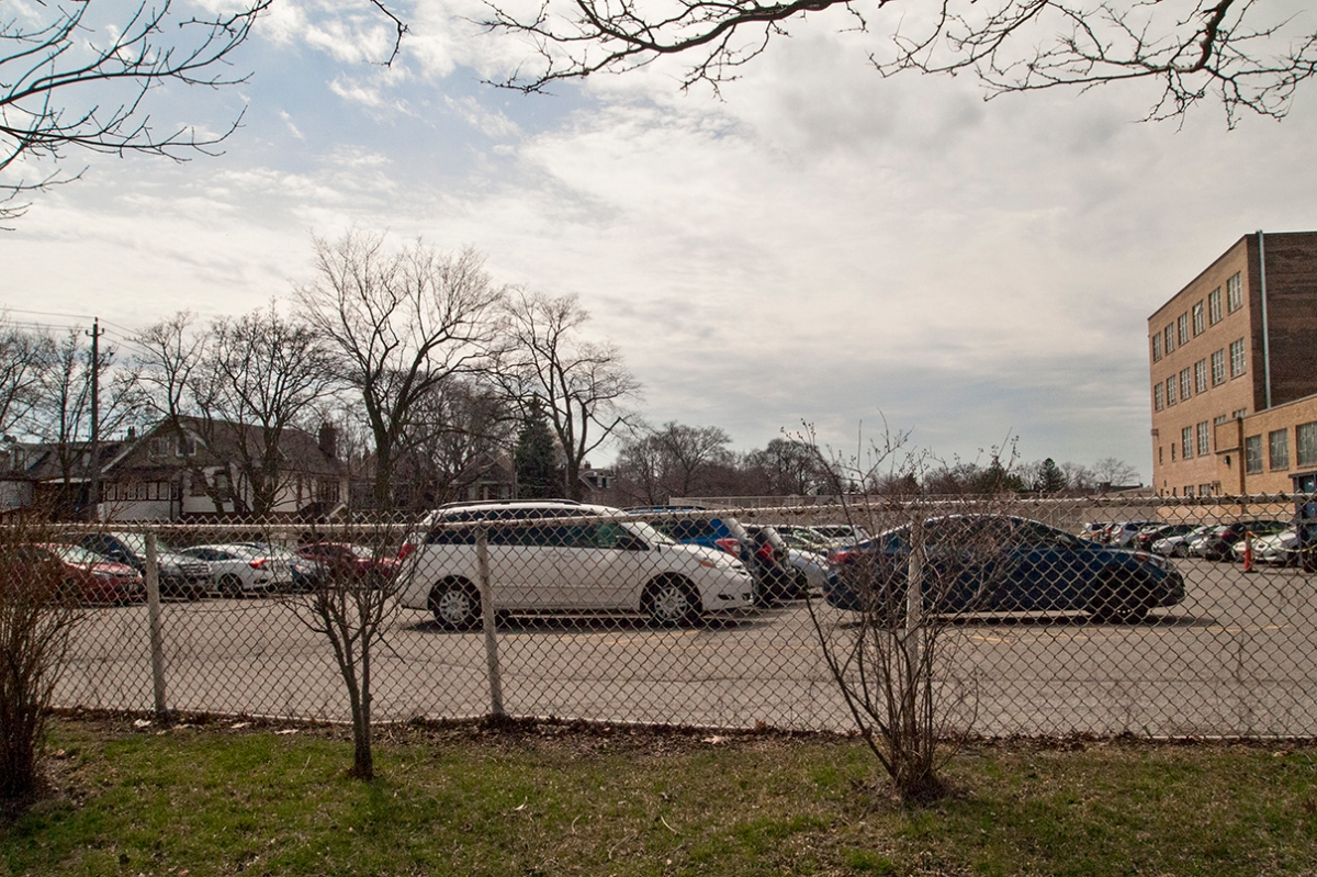 View of parking lot from Oakwood Ave.