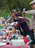 Filling plates at picnic