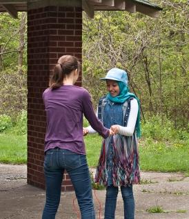 Sharing a jump rope