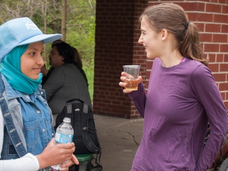 Rouaa and Bridget have a drink