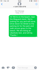 Our text to UberEats driver.