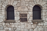 Horlick Field gatehouse plaques.