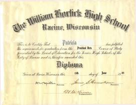 Horlick High School diploma.