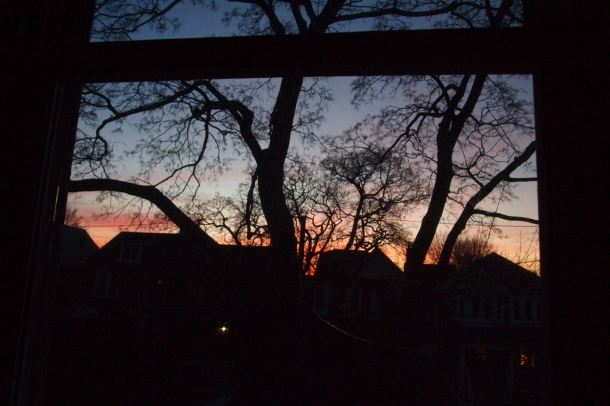 Christmas sunset through window