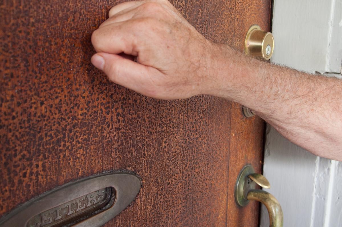 Door knocking.