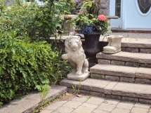 Lion and boot statuary.