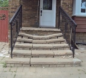 Broken stone steps.