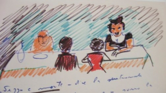 At Table Cartoon by Fellini.