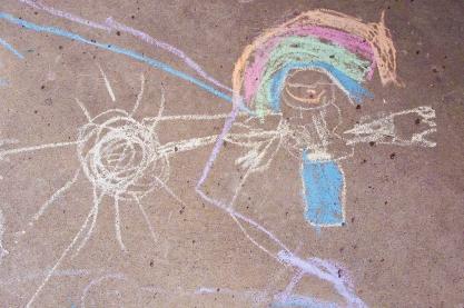 Girls with rainbow hair chalk drawing