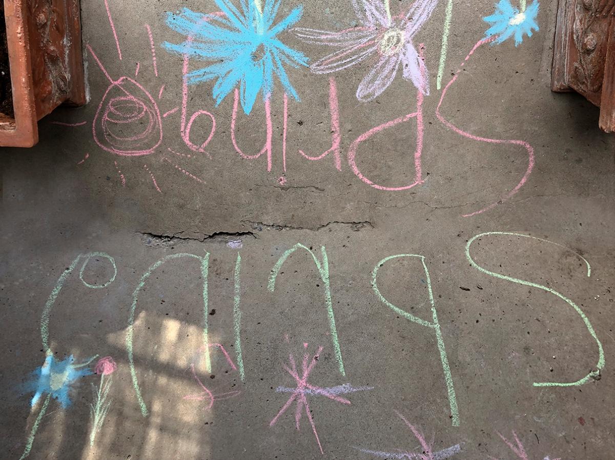 Spring written in chalk