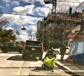 Person in wheelchair forced by construction into the street.