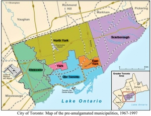 Map of Toronto boroughs pre-amalgamation.